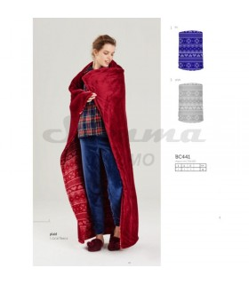 PLAID NOIDINOTTE CORAL FLEECE BC441