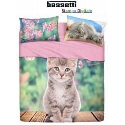 BASSETTI COMPLETO LETTO COPRILETTO SINGOLO NICE CAT
