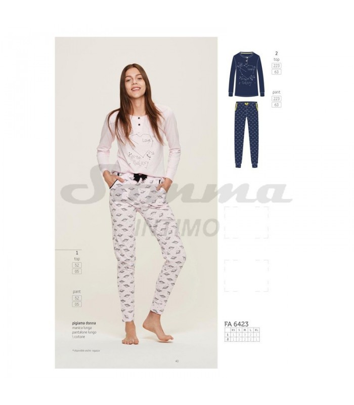 PIGIAMA DONNA GALAXY PANT.LUNGO TOP MAN.LUNGA IN JERSEY