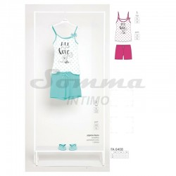 PIGIAMA DONNA NOIDINOTTE LOVE COFFEE PANT. CORTO TOP BRETELLINA JERSEY