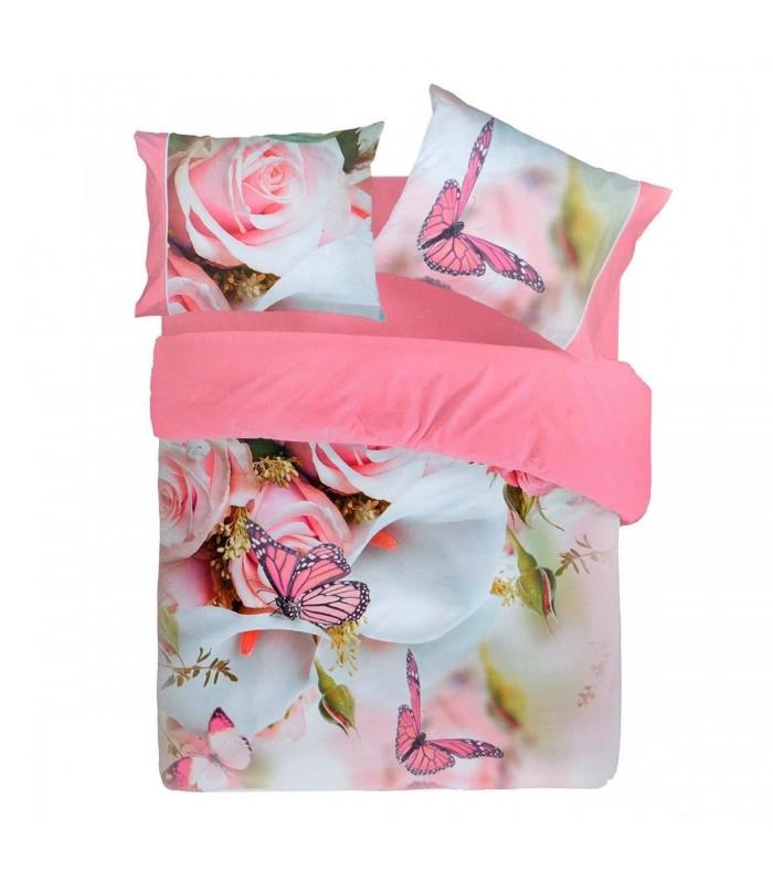 Completo lenzuola Pierre Cardin Butterfly farfalla digitale 4D Matrimoniale
