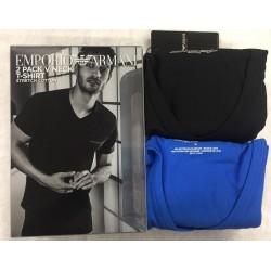 T-shirt Emporio Armani Scollo a V Stretch Cotton Confezione 2 pezzi Art 111849 9P717
