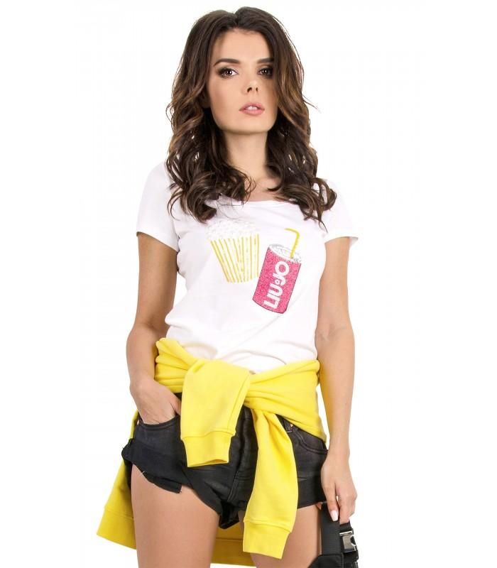 cheap for discount f8817 52a31 LIU JO T-shirt Donna In Tessuto Liscio Di Cotone Con Decorazione Art.V19122  J5407