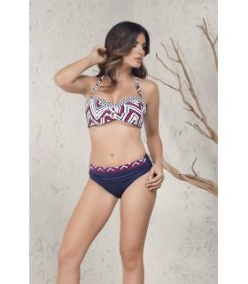 PortRose Donna Bikini con Leggera Imbottitura e Slip Vita Media Art.30762