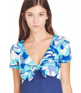 Ragno Beachwear Donna Abito Mc+ Fiocco Dav Manica Corta Scollo V Fantasia Art.71296N