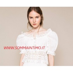 TWINSET DONNA Top in sangallo con pizzo macramé ART.201LM2LAA