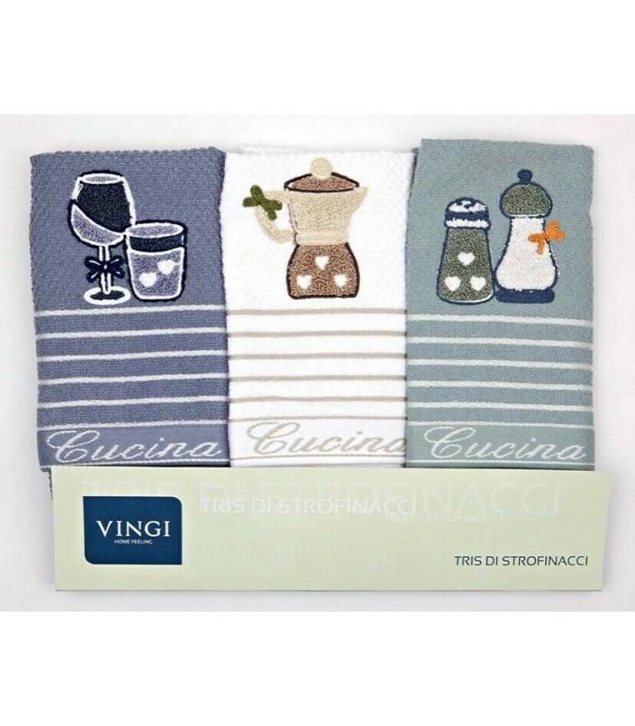 VINGI SET 3 STROFINACCI 100% COTONE ART.CUCINA